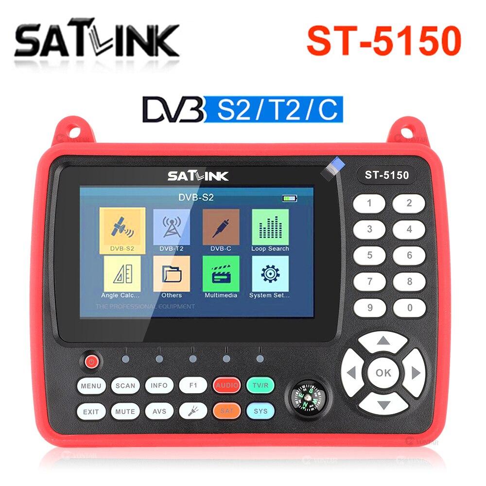 Original SATLINK ST-5150 DVB-S2/T2/C COMBO HD Satellite Finder Meter H.265 HEVC MPEG-4 QPSK 8PSK 16APSK 4.3 Inch TFT LCD Screen